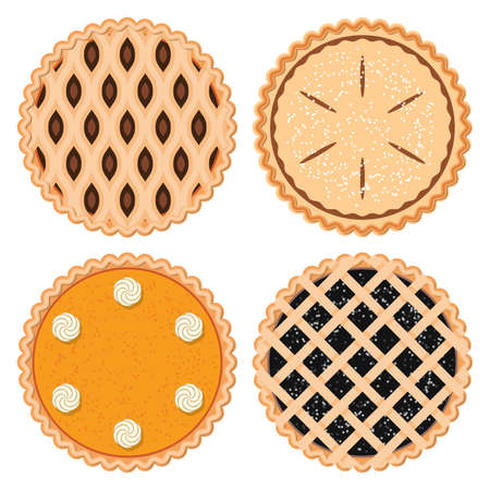 Illustration for vector set of homemade berry,fruit and pumpkin pies - Royalty Free Image