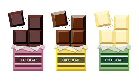 vector collection of opened dark chocolate, milk chocolate and white chocolate bars with a piece of chocolate bar in foil wrapper eps10 illustration
