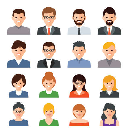 Illustration pour vector set of people icons. business person flat illustration. man and woman symbols. people avatar collection isolated on white background - image libre de droit