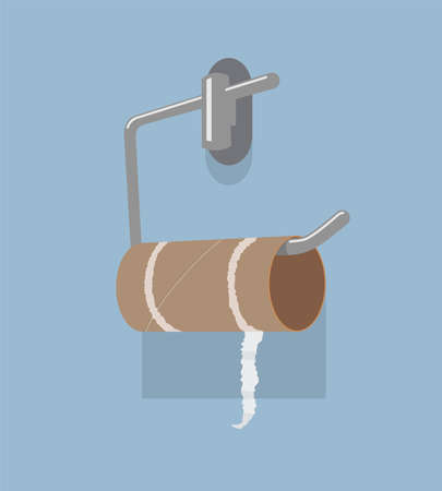 Illustration for vector empty toilet paper roll and metal holder. hygiene icon of no clean toilet paper in bathroom - Royalty Free Image