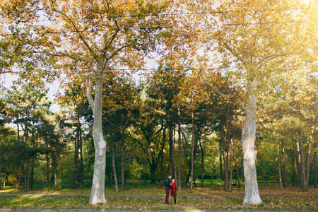 Young beautiful couple in love, happy woman and man in casual warm clothes holding hands looking at each other near tall trees in autumn city park outdoors. Love relationship family lifestyle concept