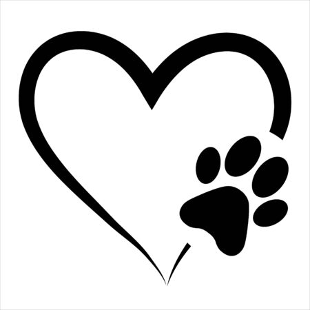 Ilustración de Animal love symbol paw print with heart, isolated vector - Imagen libre de derechos