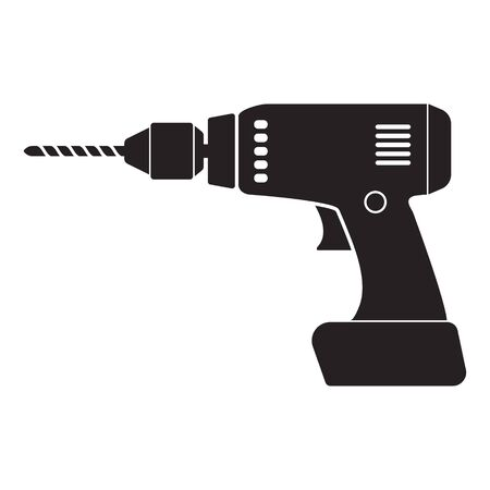 Home electric drill icon. Isolated on white background