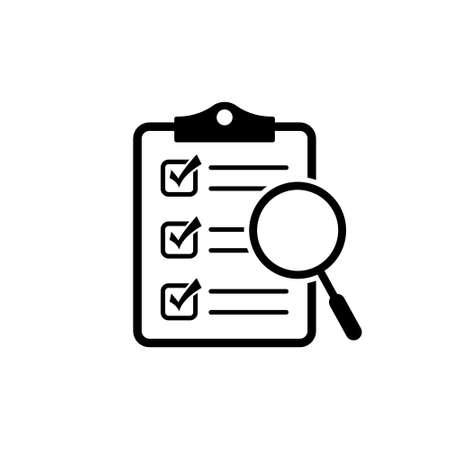 Illustration pour Magnifier assessment checklist icon - image libre de droit