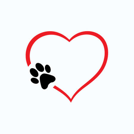 Illustration pour Animal love symbol paw print with heart, isolated vector - image libre de droit