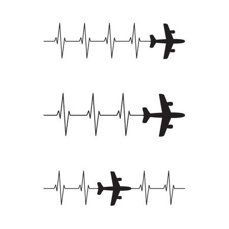 Illustration for Airplane Heartbeat, family vacation, pilot plane, travel vector - Royalty Free Image