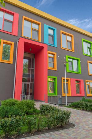 Photo pour Multi-colored windows of the school in a contemporary style. Architecture - image libre de droit