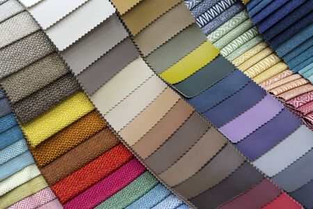 Photo pour Various samples of upholstery in furniture shop - image libre de droit