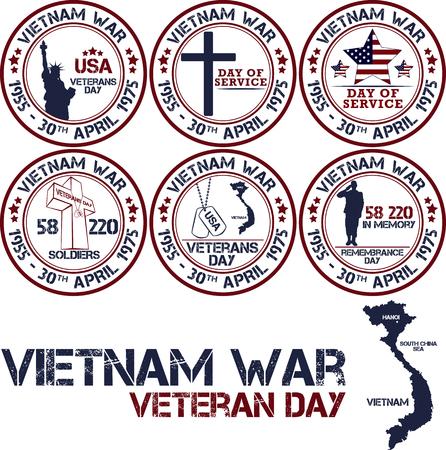 Vietnam war. Remembrance day. Vector illustration Patriotic stamps
