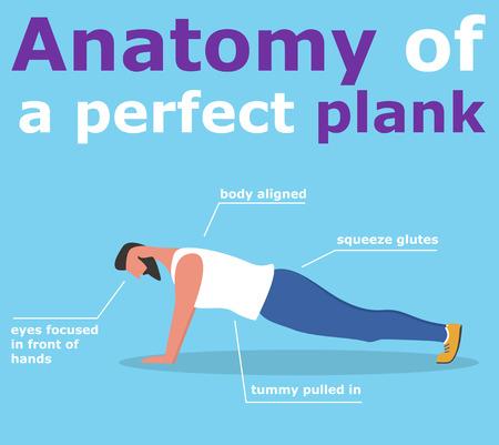 Illustration pour Anatomy of perfect plank banner - image libre de droit