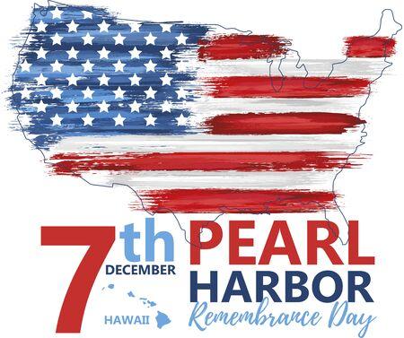 Illustration pour Pearl Harbor, Hawaii remembrance day - image libre de droit