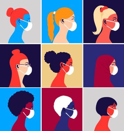 Illustration for Multicultural group of people in medical masks - Royalty Free Image