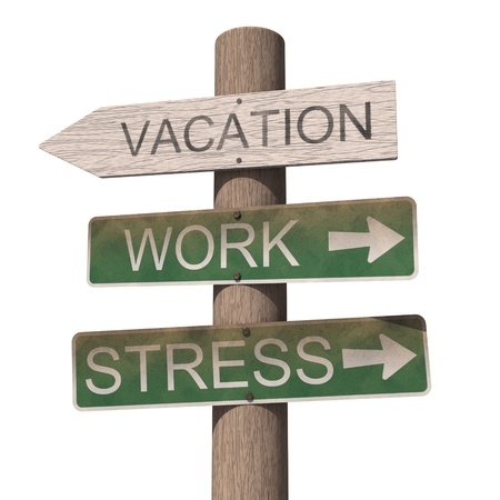 Wooden vacation sign. Isolated on the white background