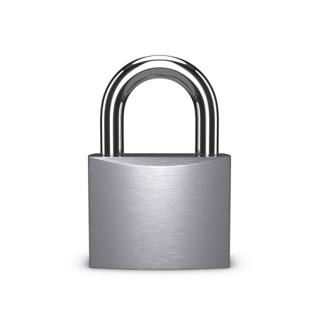 Photo pour Stainless padlock isolated on the white background. - image libre de droit