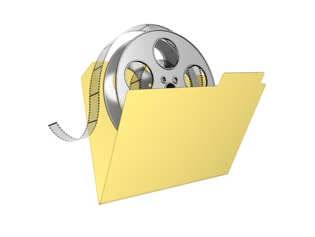 3d folder with film reel. Isolated on the white background.