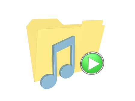 3d folder with music note. Isolated on the white background.
