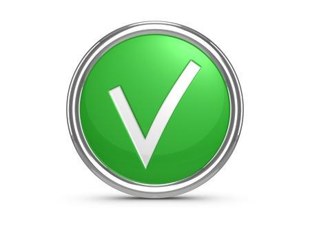 Green check mark sign. 3d illustration.