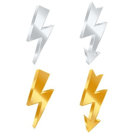Lightning bolt icons. Vector illustration