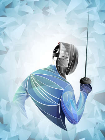 Illustration pour Fencer. Man wearing fencing suit practicing with sword. Sports arena and lense-flares. Neon effect. Vector illustration. - image libre de droit