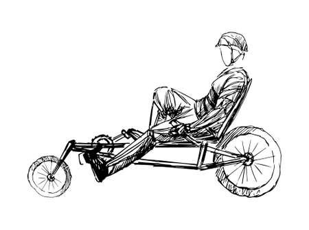 Photo pour Stylized, geometric bicyclist, cyclist sketch isolated. Sportsman, athlete silhouette illustration vector. - image libre de droit