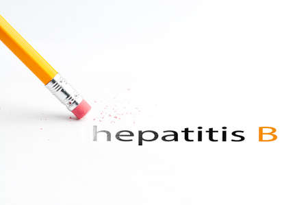 Closeup of pencil eraser and black hepatitis b text. Hepatitis b. Pencil with eraser.
