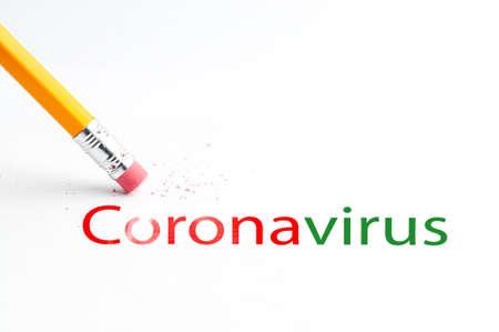 Foto de Pencil with eraser Covid-19 Coronavirus information bulletin - Imagen libre de derechos