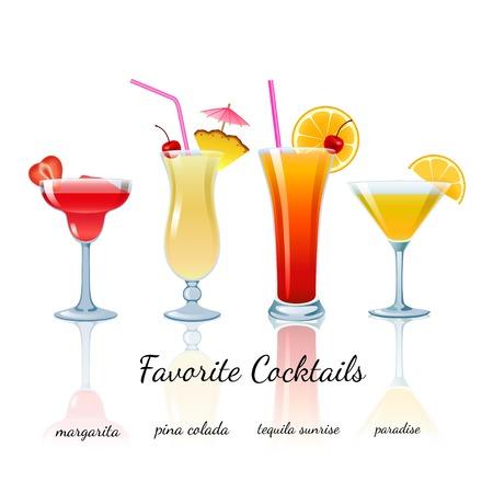 Vektor für Favorite Cocktails Set isolated. Margarita, Pina Colada, Tequila Sunrise and Paradise - Lizenzfreies Bild