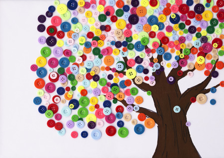 Photo for Kindergarten Children's craft of a tree made of buttons - Royalty Free Image