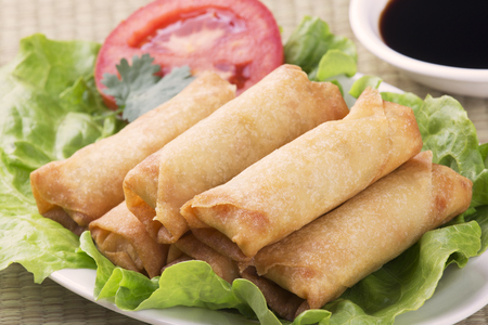 Traditional Chinese Spring Rolls with a dipping sause of soy sause