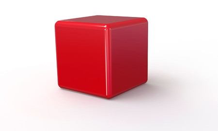 3D vector model of a red Cube. isolated on white. The cube has a shadow.のイラスト素材