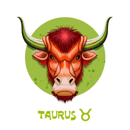 Creative digital illustration of astrological sign Taurus. Second of twelve signs in zodiac. Horoscope earth element. Logo sign with bull horns. Graphic design clip art for web and print. Add any text