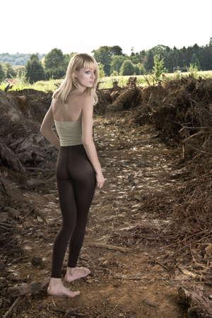 Walking away Paris Hilton look-a-like in a fashion shoot