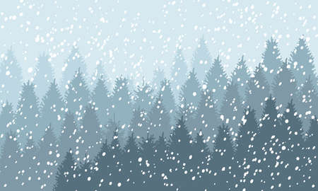 Illustration for Winter Snowy Woodland Landscape with falling snow. Winter background. Vector illustration - Royalty Free Image