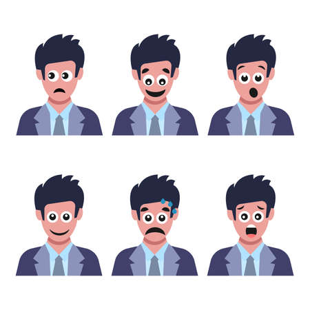 Illustration for Set of six men with different facial emotions. Human face with  emoji character. Vector illustration - Royalty Free Image