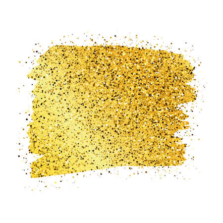 Illustration for Golden Paint Glittering backdrop on a white background. Background with gold sparkles and glitter effect. Empty space for your text.  Vector illustration - Royalty Free Image