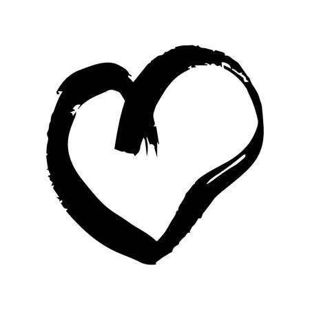 Illustration for Hand drawn brush hearts. Grunge black doodle heart on white background. Romantic love symbol. Vector illustration. - Royalty Free Image