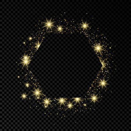 Illustration pour Hexagon frame with gold glitter on dark transparent  background. Empty background. Vector illustration. - image libre de droit