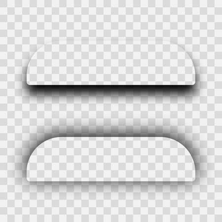 Illustration pour Dark transparent realistic shadow. Set of two rectangles with rounded corners shadows  isolated on transparent background. Vector illustration. - image libre de droit