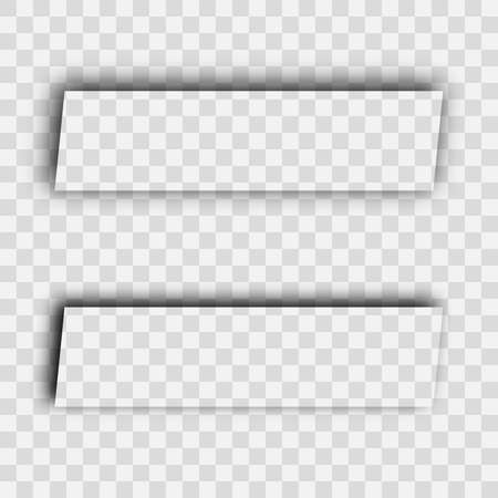 Illustration pour Dark transparent realistic shadow. Set of two rectangles shadows isolated on transparent background. Vector illustration. - image libre de droit