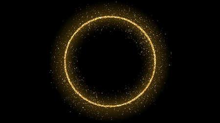 Illustration pour Golden circle frame with glitter, sparkles and flares on dark background. Empty luxury backdrop. Vector illustration. - image libre de droit