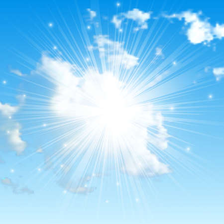 Illustration for Natural background with clouds and sun on blue sky. Realistic cloud on blue backdrop. Vector illustration - Royalty Free Image