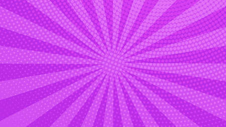 Photo pour Purple comic book page background in pop art style with empty space. Template with rays, dots and halftone effect texture. Vector illustration - image libre de droit