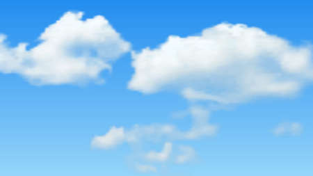 Illustration pour Natural background with cloud on blue sky. Realistic cloud on blue backdrop. Vector illustration - image libre de droit
