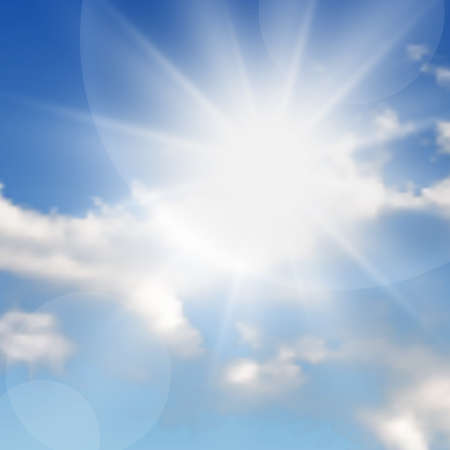 Illustration pour Natural background with clouds and sun on blue sky. Realistic cloud on blue backdrop. Vector illustration - image libre de droit