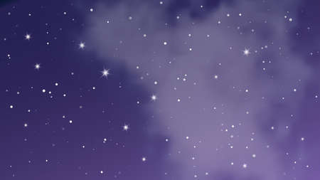 Illustration pour Night sky with clouds and many stars. Abstract nature background with stardust in deep universe. Vector illustration. - image libre de droit