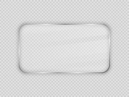 Illustration pour Glass plate in rounded rectangular frame isolated on transparent background. Vector illustration. - image libre de droit