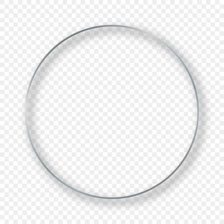 Illustration pour Silver glowing circle frame with shadow isolated on transparent background. Shiny frame with glowing effects. Vector illustration. - image libre de droit