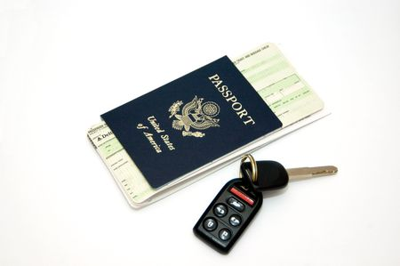Tickets, Passport and keys isolated on white backround
