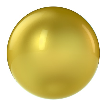 3d golden sphere in studio environment isolated on white