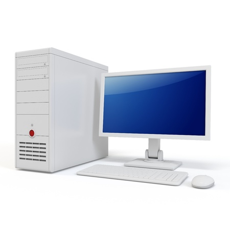 3d computer generic desktop isolated on white background